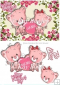 U & Me pair of cute valentine kitties in flower frame A5