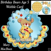 Birthday Bears Age 5 Wobble Card