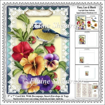 Pansy, Lace & Bluetit - 5 x 7 Card Kit, Decoupage, Insert, Envel