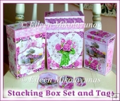 Country Cottage Stacking Gift Box Set with BONUS Matching Tags
