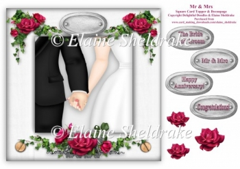 Mr & Mrs - 8 x 8 Wedding Or Anniversary Card Topper & Decoupage