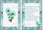 pretty turq flowers in scroll frame A5 Insert