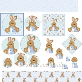 Baby Boy Rabbit Decoupage And Pyramage