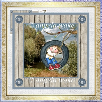 Noahs tyreswing 7x7 card with decoupage