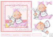 Baby girl and kitten 7x7 card