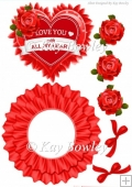 Love you with all my heart! rocker card with red roses