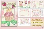 CupCake Birthday Card with Insert and envelope