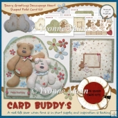 Beary Greetings Decoupage Heart Shaped Fold Card Kit