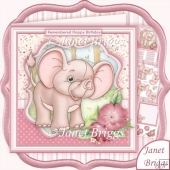 BABY ELEPHANT I REMEMBERED 8x8 Birthday Decoupage & Insert Kit