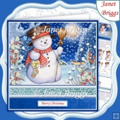SNOWMAN IN MOONLIGHT Christmas 7.8 Decoupage & Insert Kit