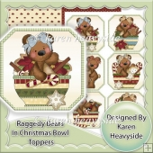 Raggedy Bears In Christmas Bowl Toppers