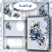 Blue rose wavy edge card set