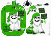 Yo! Boo! Halloween Rapper Ghost in green pumpkin frame