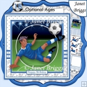 FOOTBALL STRIKER Ethnic 7.5 Blue Soccer Decoupage Ages & Insert