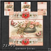 Vintage Stripes and Flowers soft red 1206