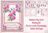 Mothers Day Card Choice of Tags, Decoupa and insert 5 x 7