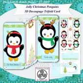 Jolly Christmas Penguins 3D Decoupage Trifold Card & Envelope
