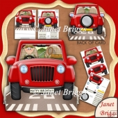 Fishing Jeep 3D Shape Card & Decoupage Kit for Men