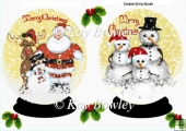 Santa and friends snow globes with holly and berries A5