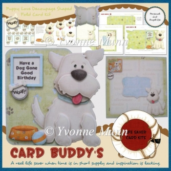 Puppy Love Decoupage Shaped Fold Card Kit