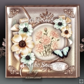 Vintage Anemone & Carnations with Butterfly Card Mini Kit