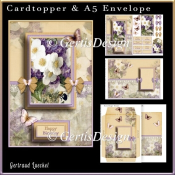 Cardtopper with Matching Envelope Purple 732