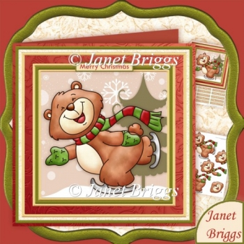 CHRISTMAS SKATING BEAR 8x8 Decoupage Kit