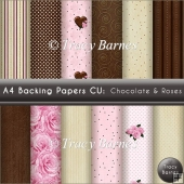A4 Backing Papers: Chocolate & Roses