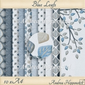 10 x A4 blue leafs cardstock