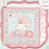 NEW BABY GIRL IN PRAM 7.5 Decoupage & Insert Mini Kit