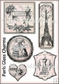 Paris Chic Glass Look Circle Charms Collage Sheet