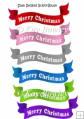 6 Merry Christmas banners red (set 1)