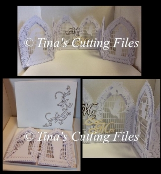Beautiful trifold Wedding Day Card with Box