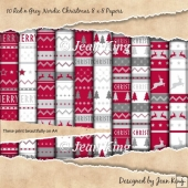 10 Red n Grey Nordic Christmas 8 x 8 Papers