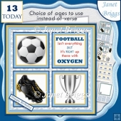 FOOTBALL PALE BLUE 7.5 Quick Card Verse or Ages Decoupage Kit
