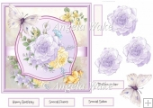 Buttercup and lilac rose 7x7
