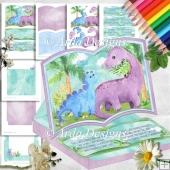 Jurassic Walk Open Book Easel Card