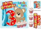 Look who's THREE! Cute birthday bear with cupcakes 8x8