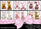 6 A5 Cute Teddies on lace with pink bows on tags Bumper Kit
