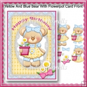 Yellow And Blue Bear With Flowerpot Card Front