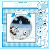 Unicorn Magic Blue - 6 x 6 Inch Card Kit With Insert & Envelope