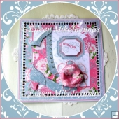 Boutique Style Dimensional Card with Paper Rose & Paper Piecing