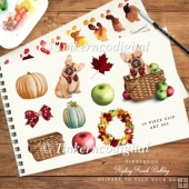 French bulldog, pumpkins and autumn wreath clipart set