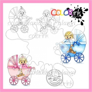 Pram babies and sentiment Digi stamps