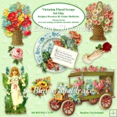 Victorian Flower Scraps Set One For Card Making & Scrapbooking