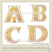 Celtic Irish Golden Alphabet Letters