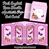 Pink English Rose Double Aperture Pop Out Card