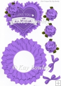 Love you with all my heart! rocker card with purple roses