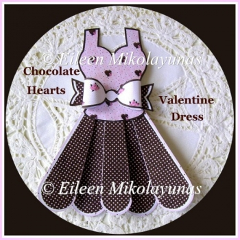 Chocolate Hearts Valentine Dress and Bow Embellishment Set