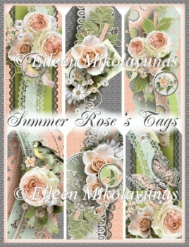 Summer's Roses Cottage Chic Garden Tag Set